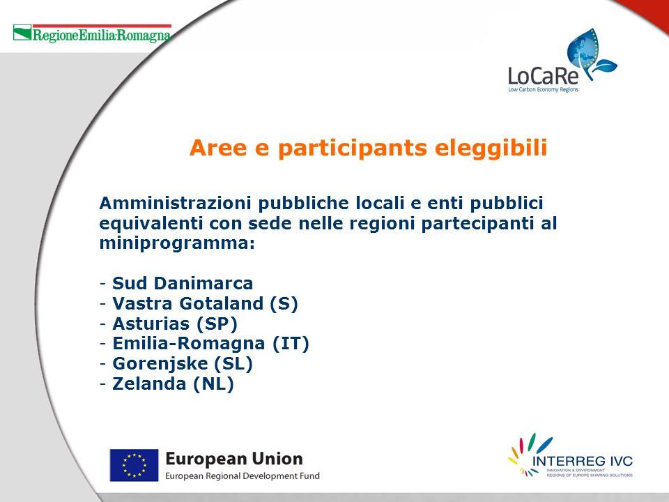 Amministrazioni pubbliche locali e enti pubblici equivalenti con sede nelle regioni partecipanti al miniprogramma: - Sud Danimarca - Vastra Gotaland (