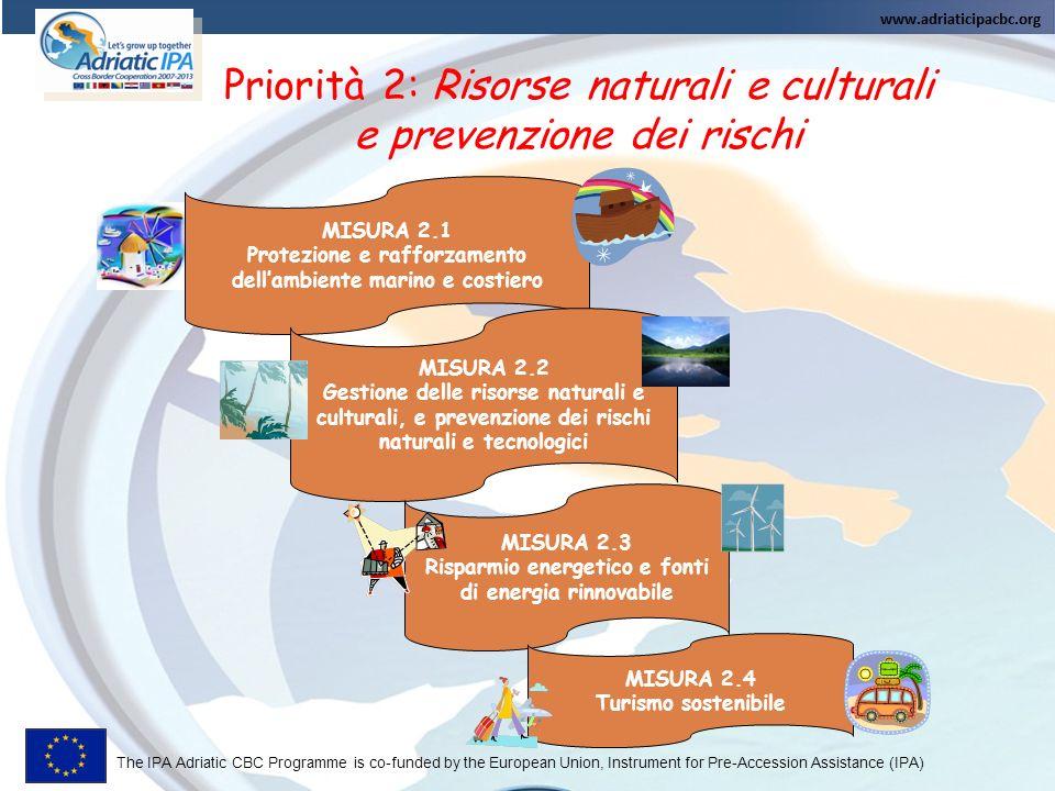The IPA Adriatic CBC Programme is co-funded by the European Union, Instrument for Pre-Accession Assistance (IPA) MISURA 2.1 Protezione e rafforzamento dellambiente marino e costiero MISURA 2.2 Gestione delle risorse naturali e culturali, e prevenzione dei rischi naturali e tecnologici MISURA 2.3 Risparmio energetico e fonti di energia rinnovabile MISURA 2.4 Turismo sostenibile Priorità 2: Risorse naturali e culturali e prevenzione dei rischi