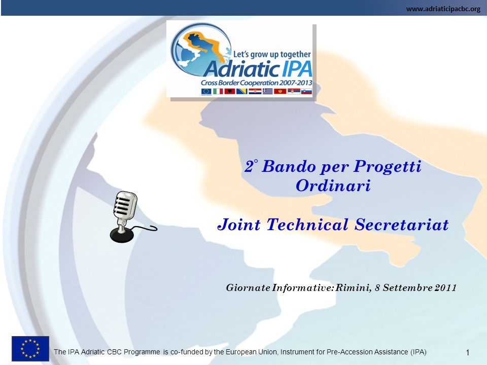 The IPA Adriatic CBC Programme is co-funded by the European Union, Instrument for Pre-Accession Assistance (IPA) 12 Presentazione online delle proposte https://sso.adriaticipacbc.org/gestionale/view/public/pubblicaBando.do https://sso.adriaticipacbc.org/gestionale Solo il Lead deve registrarsi.