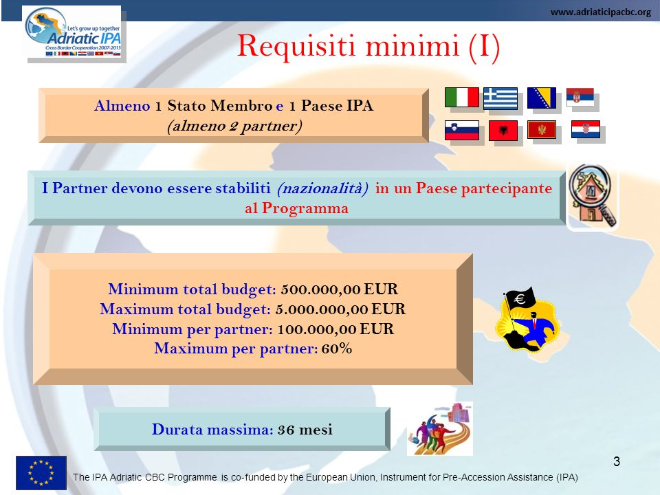 The IPA Adriatic CBC Programme is co-funded by the European Union, Instrument for Pre-Accession Assistance (IPA) 3 Requisiti minimi (I) Almeno 1 Stato