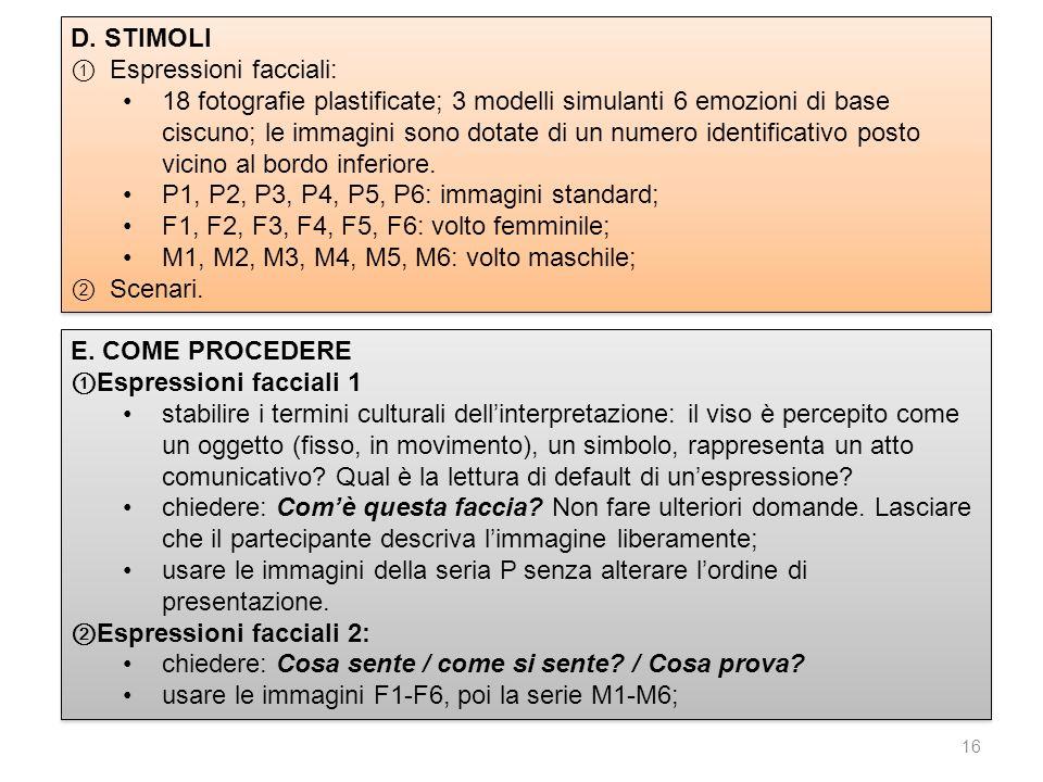 16 D. STIMOLI Espressioni facciali: 18 fotografie plastificate; 3 modelli simulanti 6 emozioni di base ciscuno; le immagini sono dotate di un numero i