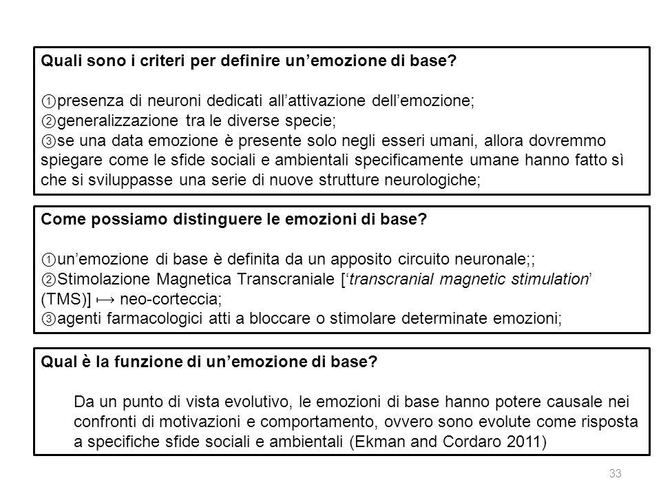 Quali sono i criteri per definire unemozione di base? presenza di neuroni dedicati allattivazione dellemozione; generalizzazione tra le diverse specie