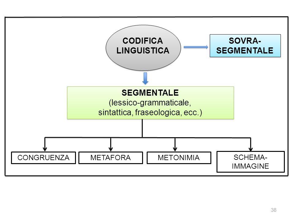CODIFICA LINGUISTICA SEGMENTALE (lessico-grammaticale, sintattica, fraseologica, ecc.) SEGMENTALE (lessico-grammaticale, sintattica, fraseologica, ecc