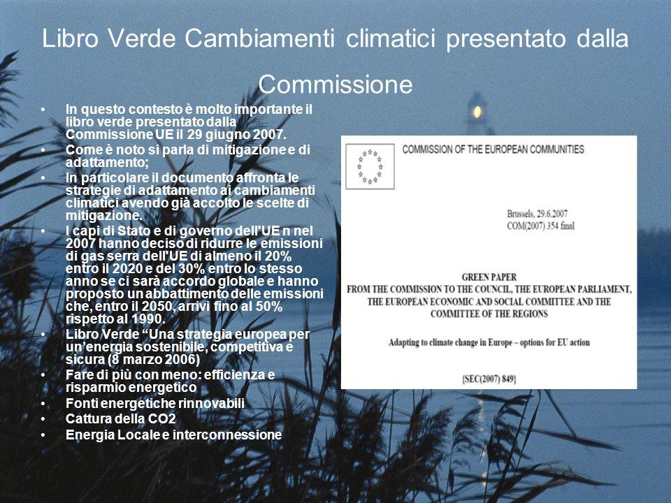 Libro Verde Cambiamenti climatici presentato dalla Commissione In questo contesto è molto importante il libro verde presentato dalla Commissione UE il 29 giugno 2007.