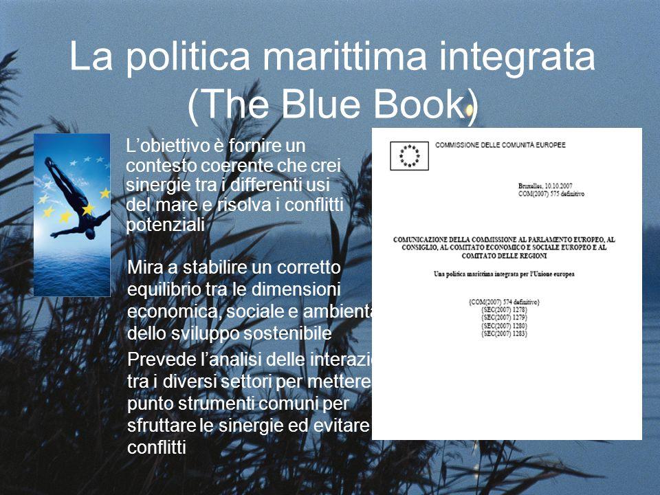 La politica marittima integrata (The Blue Book) Lobiettivo è fornire un contesto coerente che crei sinergie tra i differenti usi del mare e risolva i