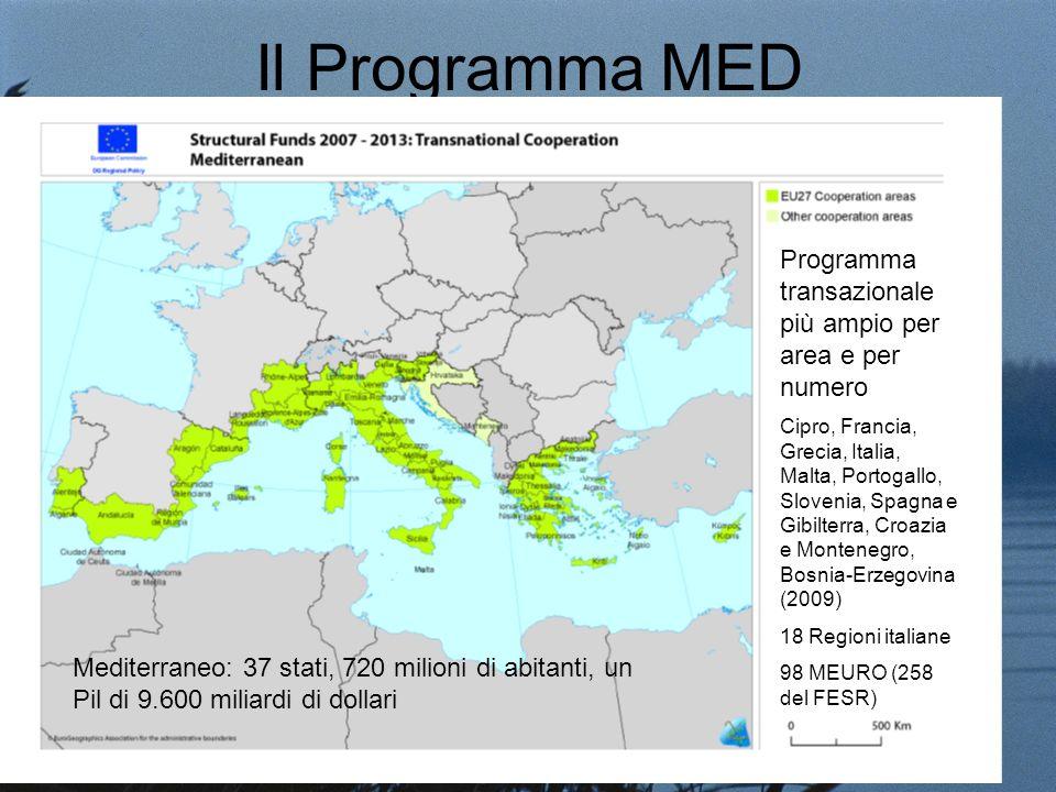 Il Programma MED Programma transazionale più ampio per area e per numero Cipro, Francia, Grecia, Italia, Malta, Portogallo, Slovenia, Spagna e Gibilterra, Croazia e Montenegro, Bosnia-Erzegovina (2009) 18 Regioni italiane 98 MEURO (258 del FESR) Mediterraneo: 37 stati, 720 milioni di abitanti, un Pil di 9.600 miliardi di dollari