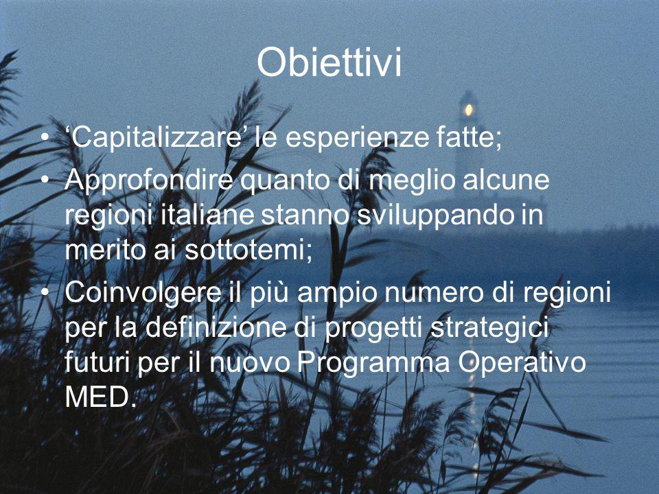 Obiettivi Capitalizzare le esperienze fatte; Approfondire quanto di meglio alcune regioni italiane stanno sviluppando in merito ai sottotemi; Coinvolgere il più ampio numero di regioni per la definizione di progetti strategici futuri per il nuovo Programma Operativo MED.
