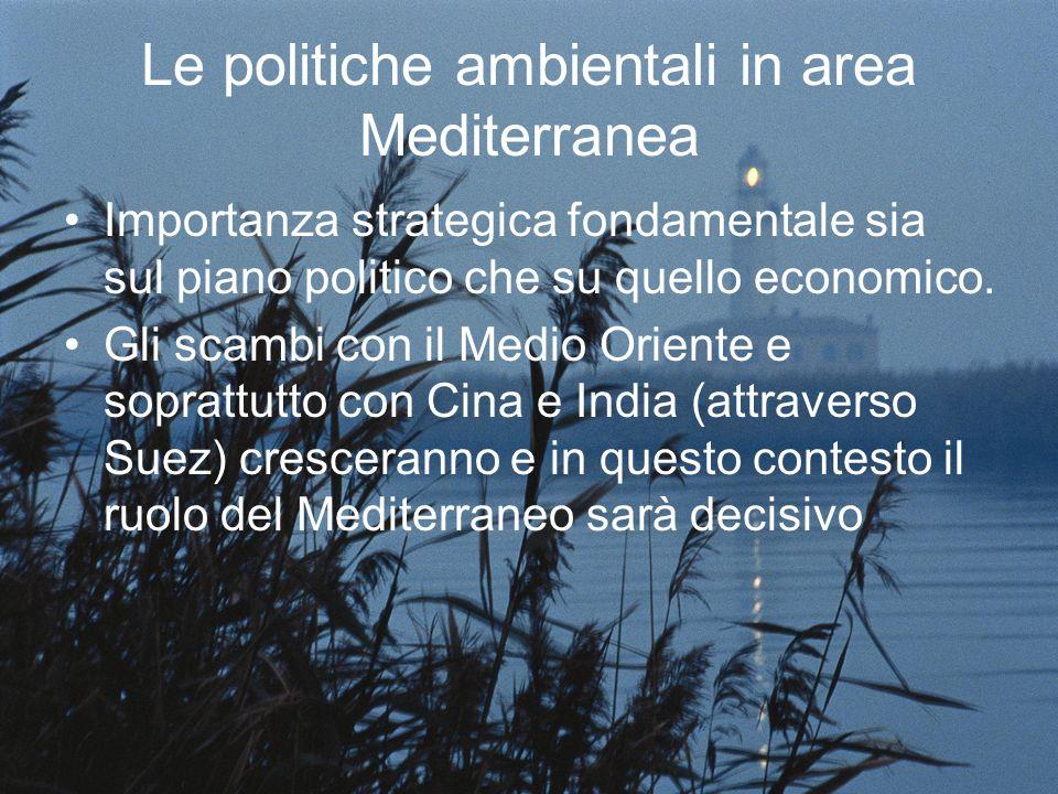 Le politiche ambientali in area Mediterranea Importanza strategica fondamentale sia sul piano politico che su quello economico. Gli scambi con il Medi
