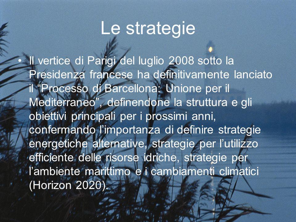 Le strategie Il vertice di Parigi del luglio 2008 sotto la Presidenza francese ha definitivamente lanciato il Processo di Barcellona: Unione per il Mediterraneo, definendone la struttura e gli obiettivi principali per i prossimi anni, confermando limportanza di definire strategie energetiche alternative, strategie per lutilizzo efficiente delle risorse idriche, strategie per lambiente marittimo e i cambiamenti climatici (Horizon 2020).