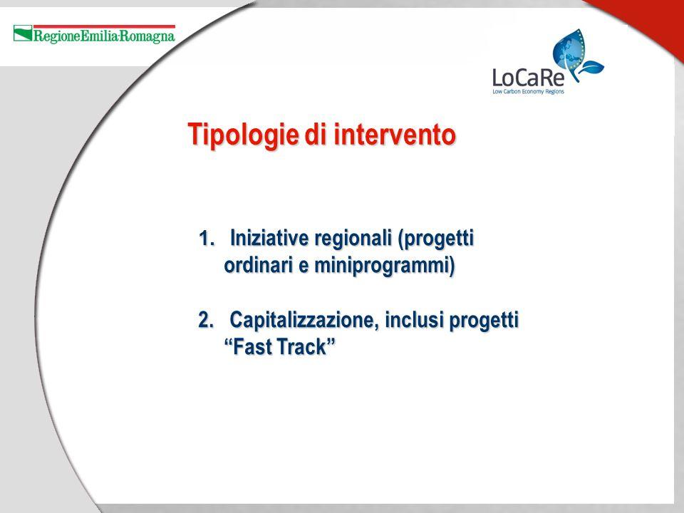 Tipologie di intervento 1. Iniziative regionali (progetti ordinari e miniprogrammi) 2.