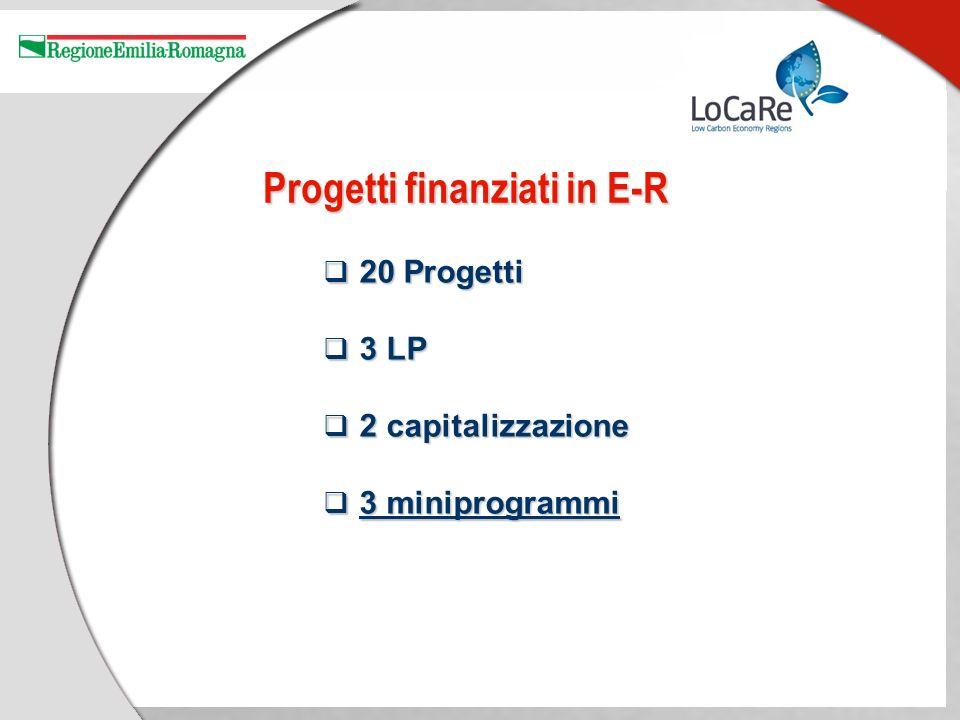 Progetti finanziati in E-R 20 Progetti 20 Progetti 3 LP 3 LP 2 capitalizzazione 2 capitalizzazione 3 miniprogrammi 3 miniprogrammi