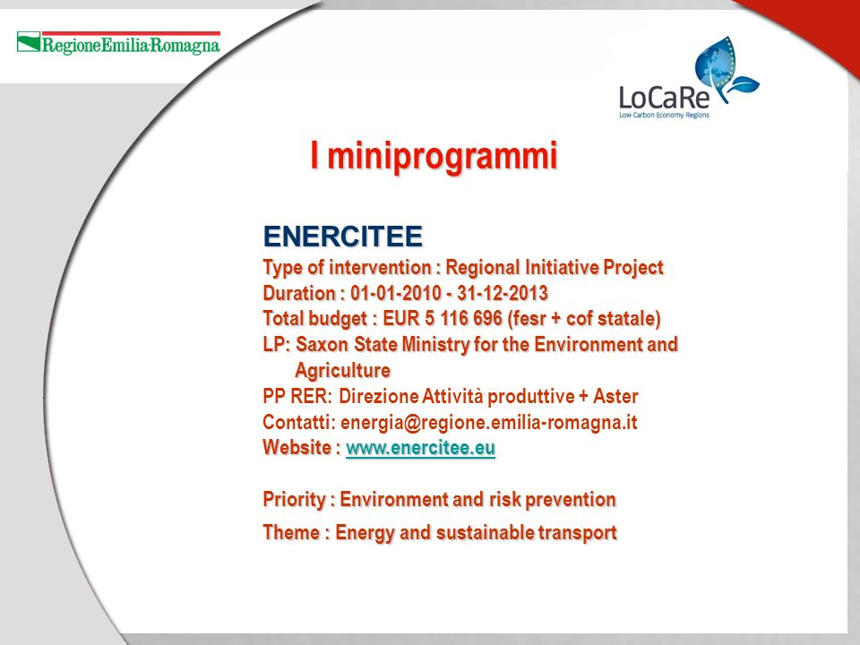 ENERCITEE Type of intervention : Regional Initiative Project Duration : 01-01-2010 - 31-12-2013 Total budget : EUR 5 116 696 (fesr + cof statale) LP: