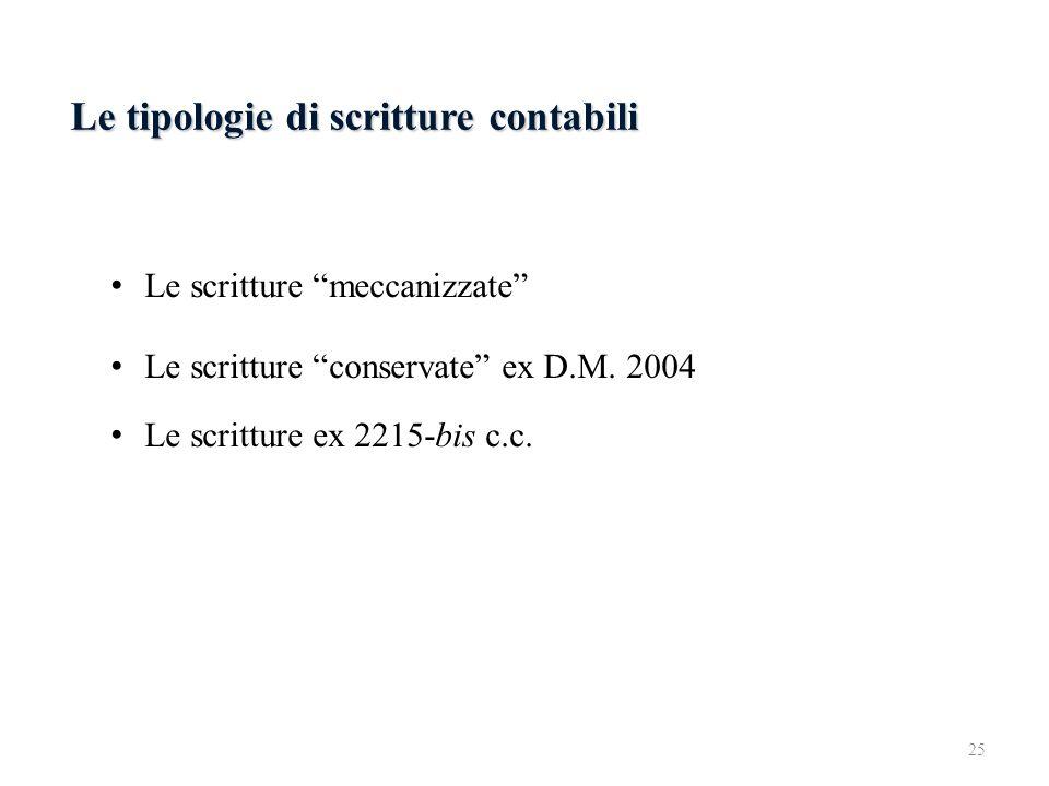 Le tipologie di scritture contabili Le scritture meccanizzate Le scritture conservate ex D.M. 2004 Le scritture ex 2215-bis c.c. 25
