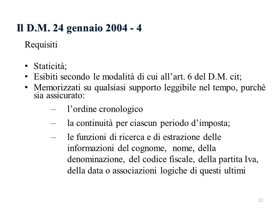 Il D.M. 24 gennaio 2004 - 4 Requisiti Staticità; Esibiti secondo le modalità di cui allart. 6 del D.M. cit; Memorizzati su qualsiasi supporto leggibil