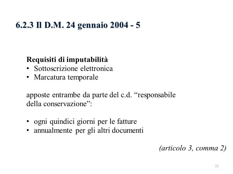 6.2.3 Il D.M. 24 gennaio 2004 - 5 Requisiti di imputabilità Sottoscrizione elettronica Marcatura temporale apposte entrambe da parte del c.d. responsa