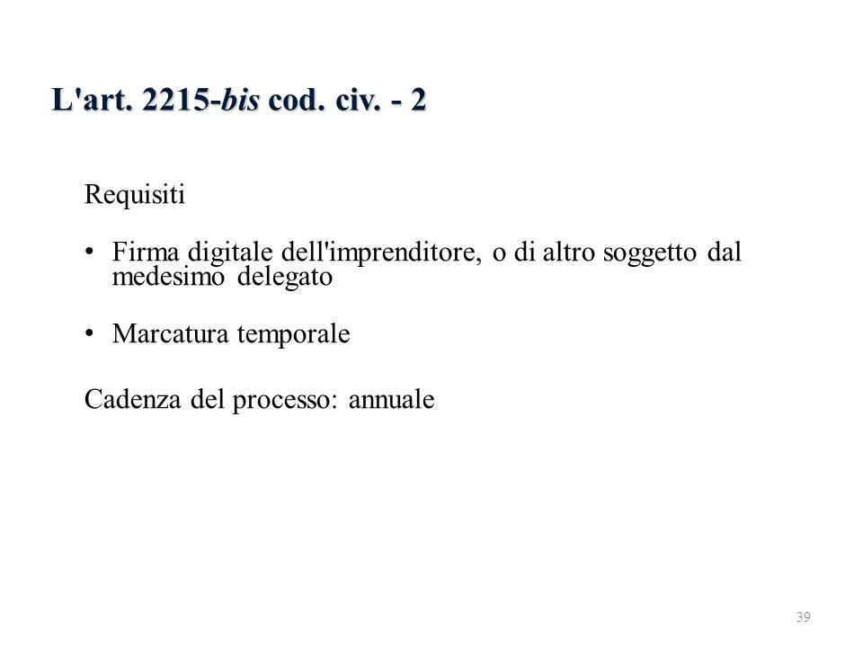 L'art. 2215-bis cod. civ. - 2 Requisiti Firma digitale dell'imprenditore, o di altro soggetto dal medesimo delegato Marcatura temporale Cadenza del pr