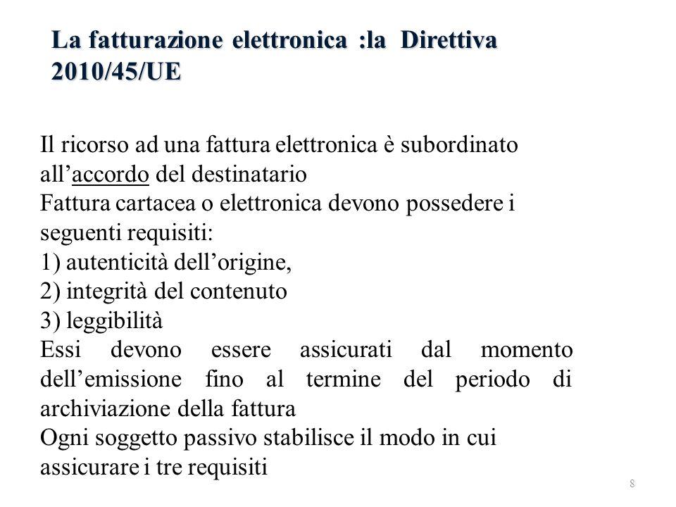 La fatturazione elettronica :la Direttiva 2010/45/UE Il ricorso ad una fattura elettronica è subordinato allaccordo del destinatario Fattura cartacea