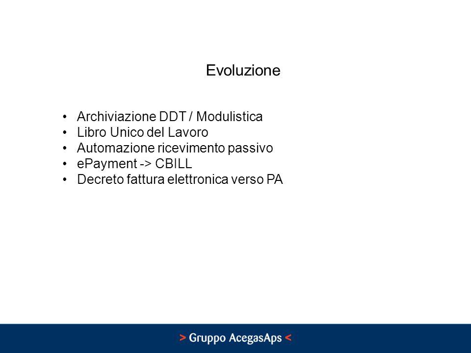 Evoluzione Archiviazione DDT / Modulistica Libro Unico del Lavoro Automazione ricevimento passivo ePayment -> CBILL Decreto fattura elettronica verso PA