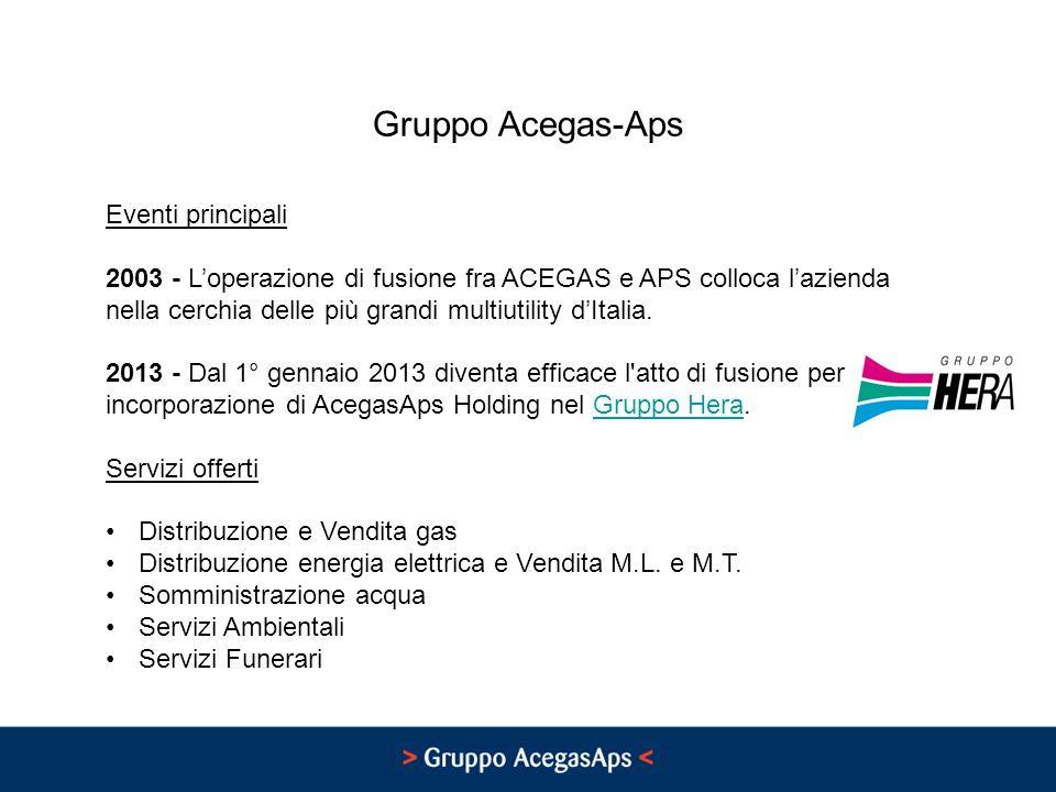 Gruppo Acegas-Aps Eventi principali 2003 - Loperazione di fusione fra ACEGAS e APS colloca lazienda nella cerchia delle più grandi multiutility dItalia.