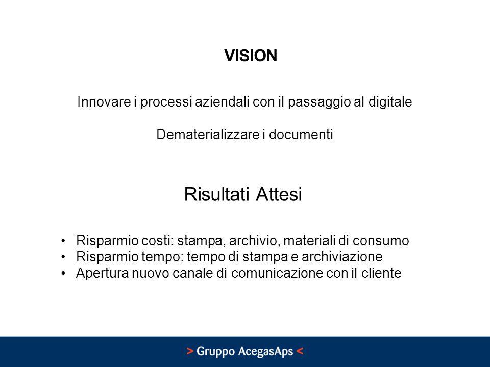 VISION Innovare i processi aziendali con il passaggio al digitale Dematerializzare i documenti Risultati Attesi Risparmio costi: stampa, archivio, mat