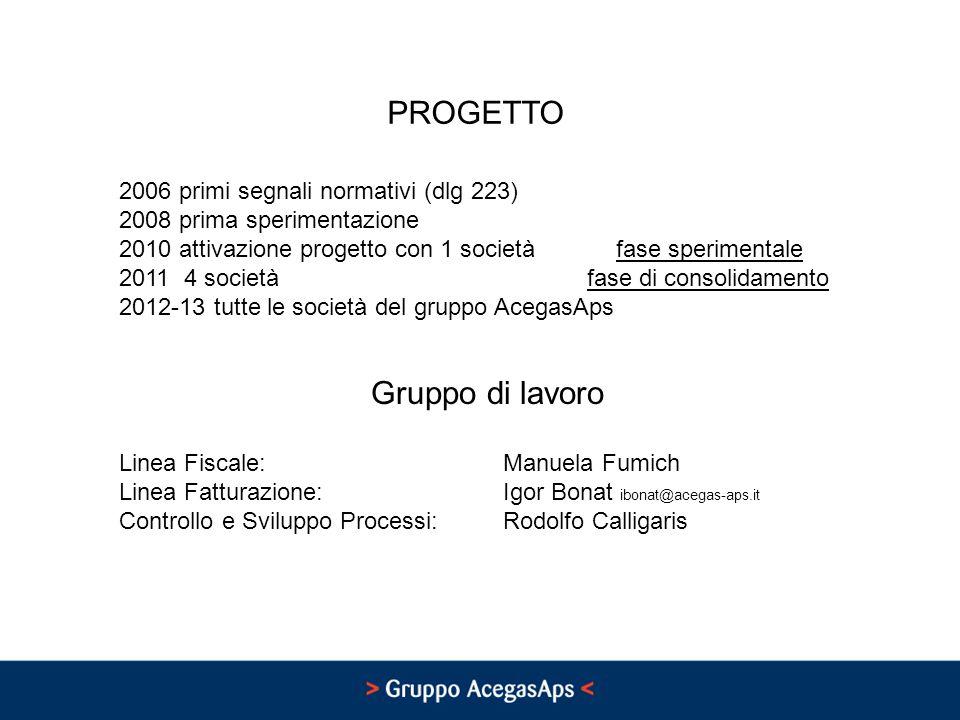 PROGETTO Gruppo di lavoro Linea Fiscale: Manuela Fumich Linea Fatturazione: Igor Bonat ibonat@acegas-aps.it Controllo e Sviluppo Processi: Rodolfo Cal