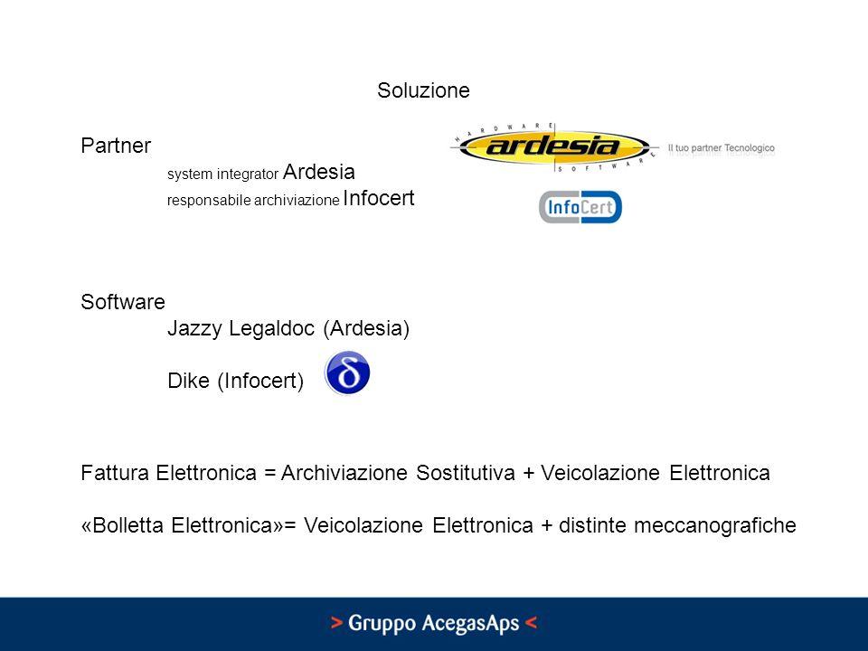 Soluzione Partner system integrator Ardesia responsabile archiviazione Infocert Software Jazzy Legaldoc (Ardesia) Dike (Infocert) Fattura Elettronica