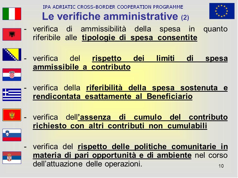 10 Le verifiche amministrative (2) -verifica di ammissibilità della spesa in quanto riferibile alle tipologie di spesa consentite -verifica del rispet