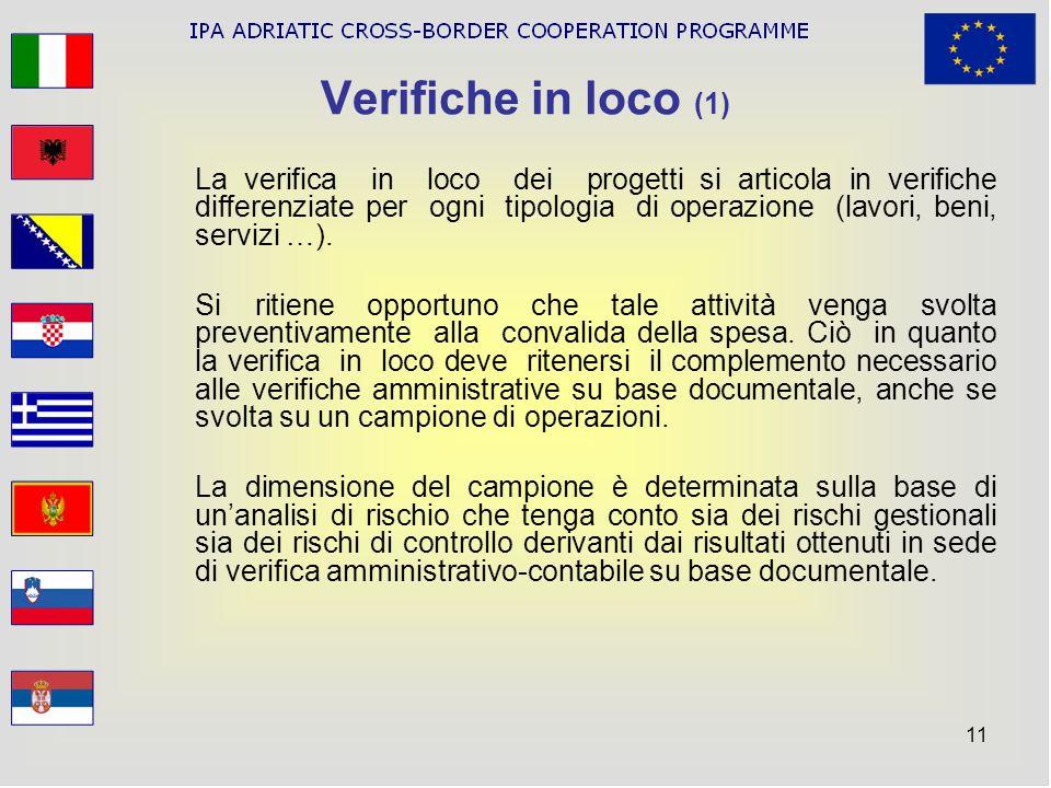 11 Verifiche in loco (1) La verifica in loco dei progetti si articola in verifiche differenziate per ogni tipologia di operazione (lavori, beni, servi