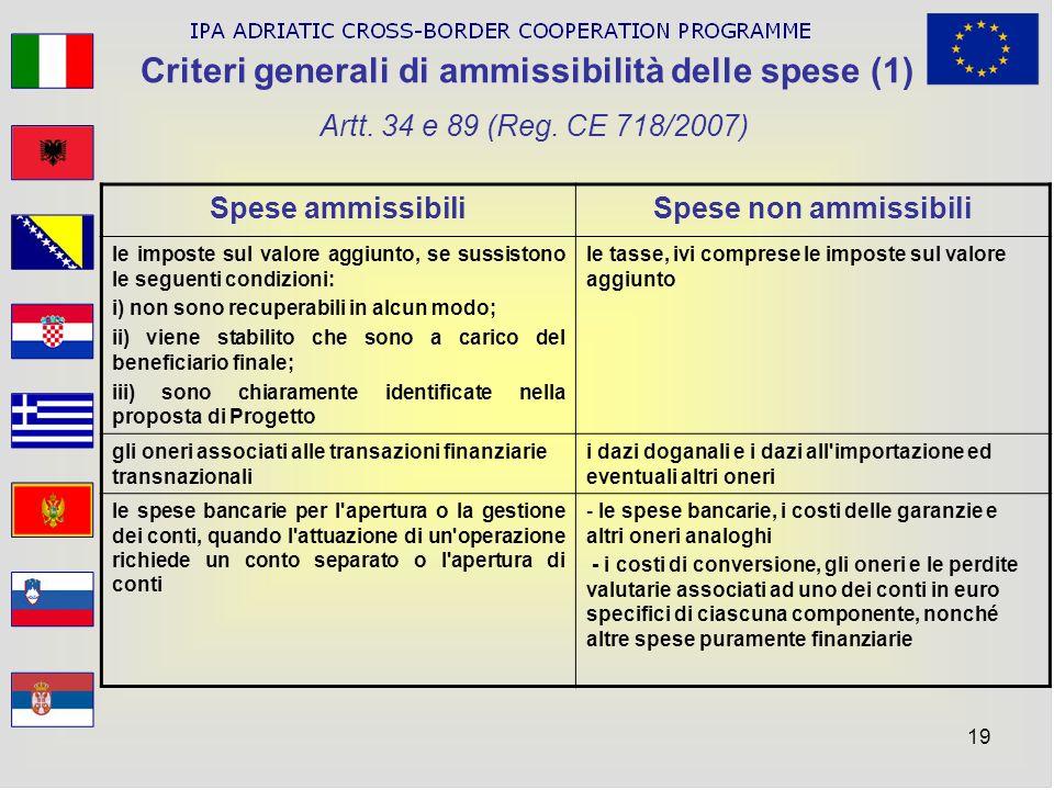 19 Criteri generali di ammissibilità delle spese (1) Artt. 34 e 89 (Reg. CE 718/2007) Spese ammissibiliSpese non ammissibili le imposte sul valore agg