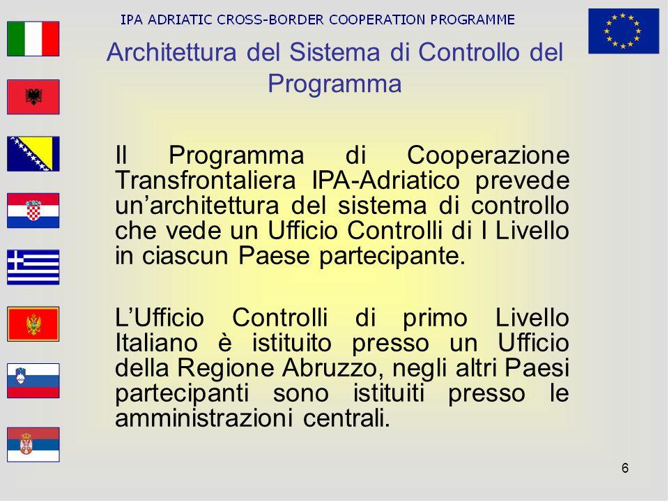 6 Architettura del Sistema di Controllo del Programma Il Programma di Cooperazione Transfrontaliera IPA-Adriatico prevede unarchitettura del sistema d