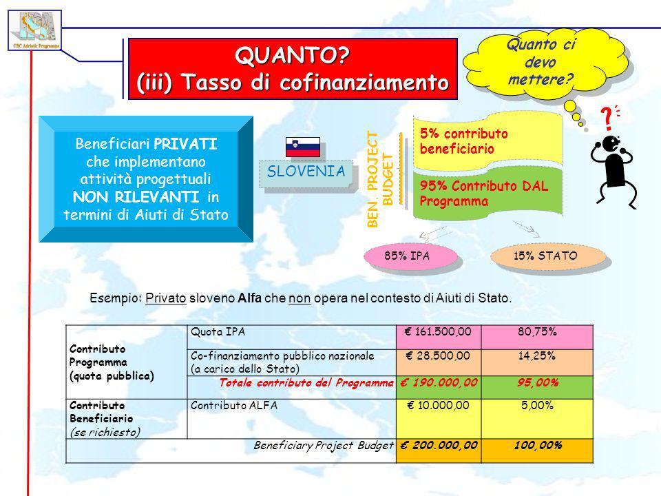QUANTO? (iii) Tasso di cofinanziamento Quanto ci devo mettere? 95% Contributo DAL Programma Beneficiari PRIVATI che implementano attività progettuali