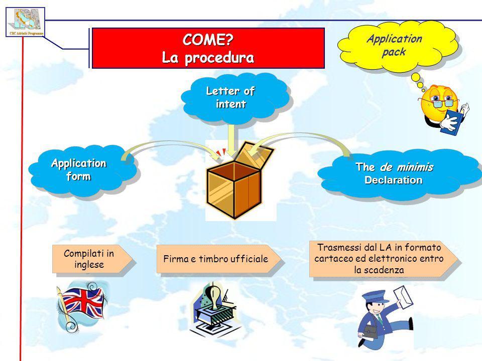 COME? La procedura Application pack Application form Letter of intent The de minimis Declaration Compilati in inglese Firma e timbro ufficiale Trasmes
