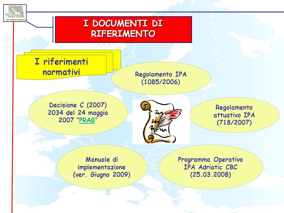 I DOCUMENTI DI RIFERIMENTO I riferimenti normativi Decisione C (2007) 2034 del 24 maggio 2007 PRAGPRAG Regolamento IPA (1085/2006) Regolamento attuati