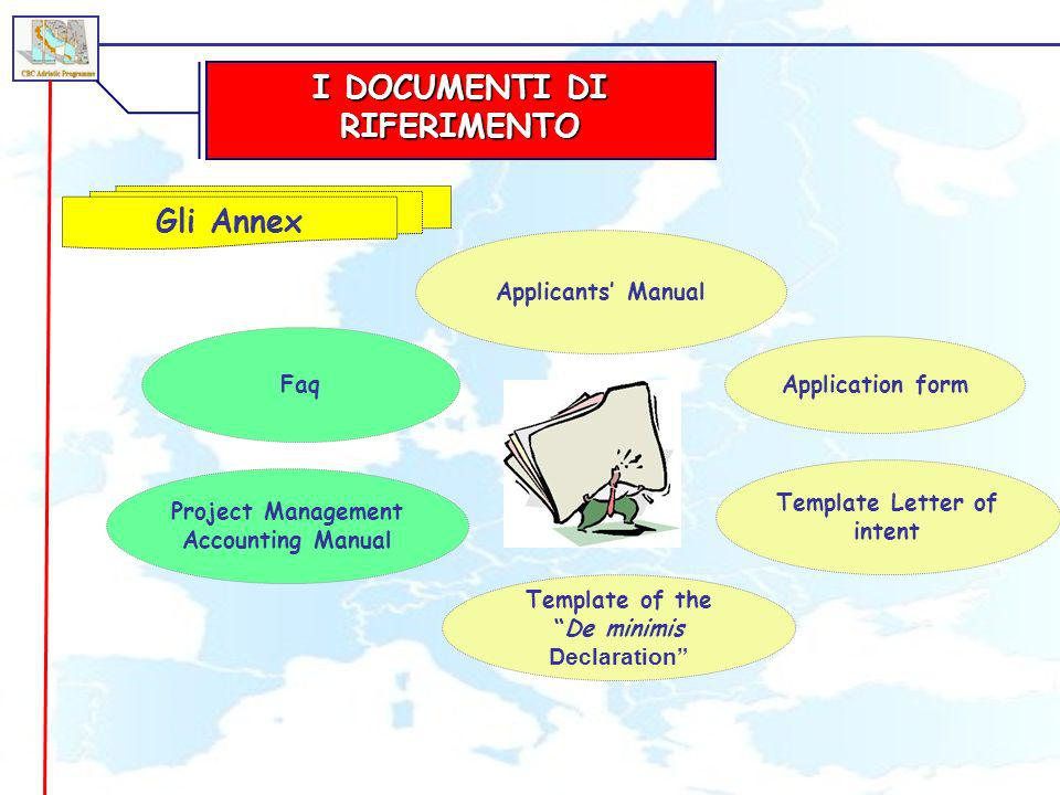 I DOCUMENTI DI RIFERIMENTO Gli Annex Project Management Accounting Manual Applicants Manual Application form Template Letter of intent Template of theDe minimis Declaration Faq