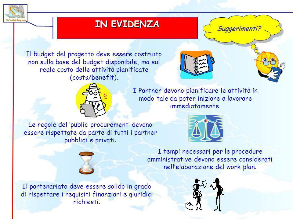 IN EVIDENZA Suggerimenti? Il partenariato deve essere solido in grado di rispettare i requisiti finanziari e giuridici richiesti. Il budget del proget