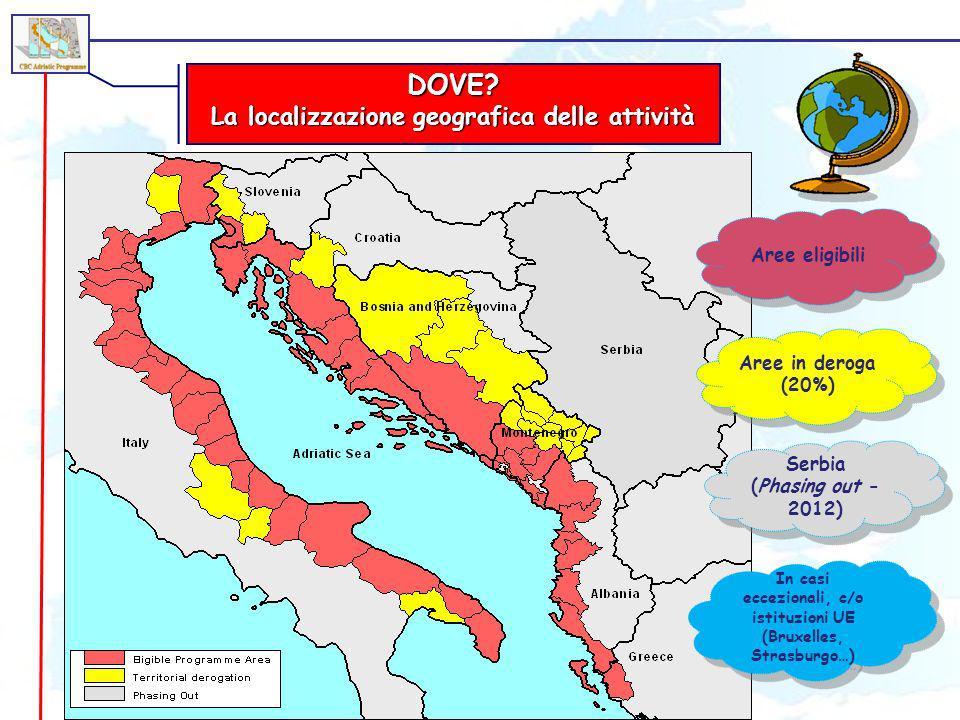 DOVE? La localizzazione geografica delle attività Aree eligibili Aree in deroga (20%) Serbia (Phasing out - 2012) In casi eccezionali, c/o istituzioni