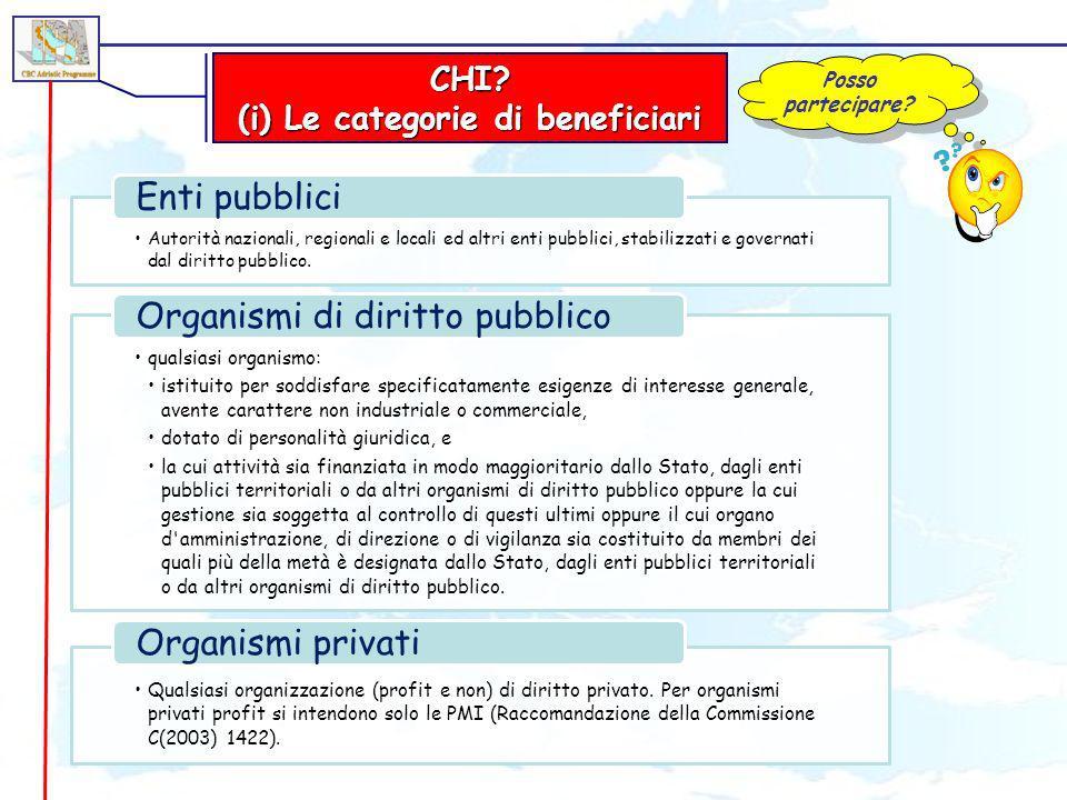 CHI? (i) Le categorie di beneficiari Posso partecipare? Autorità nazionali, regionali e locali ed altri enti pubblici, stabilizzati e governati dal di
