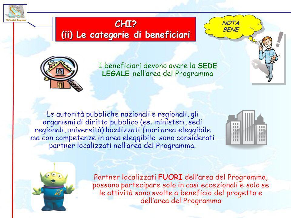 CHI? (ii) Le categorie di beneficiari NOTA BENE Partner localizzati FUORI dellarea del Programma, possono partecipare solo in casi eccezionali e solo