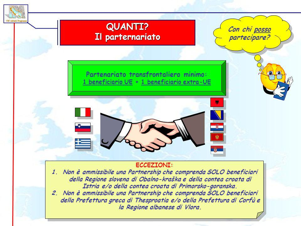 QUANTI? Il parternariato Con chi posso partecipare? Partenariato transfrontaliero minimo: 1 beneficiario UE + 1 beneficiario extra-UE Partenariato tra
