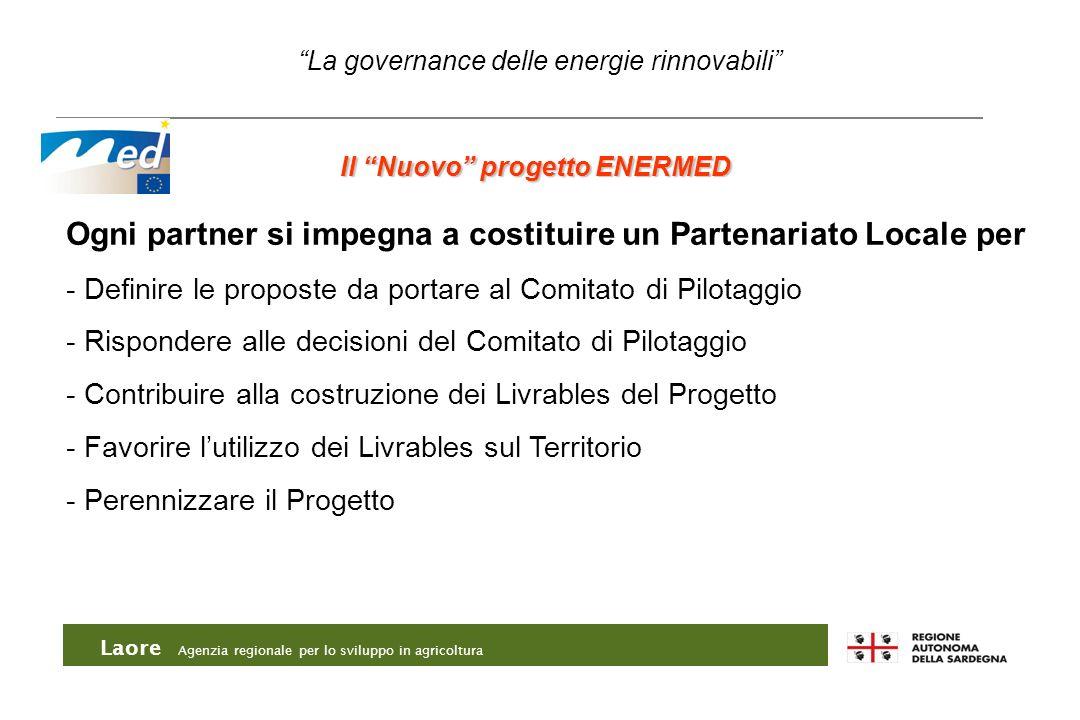 Laore Agenzia regionale per lo sviluppo in agricoltura La governance delle energie rinnovabili Il Nuovo progetto ENERMED Ogni partner si impegna a cos