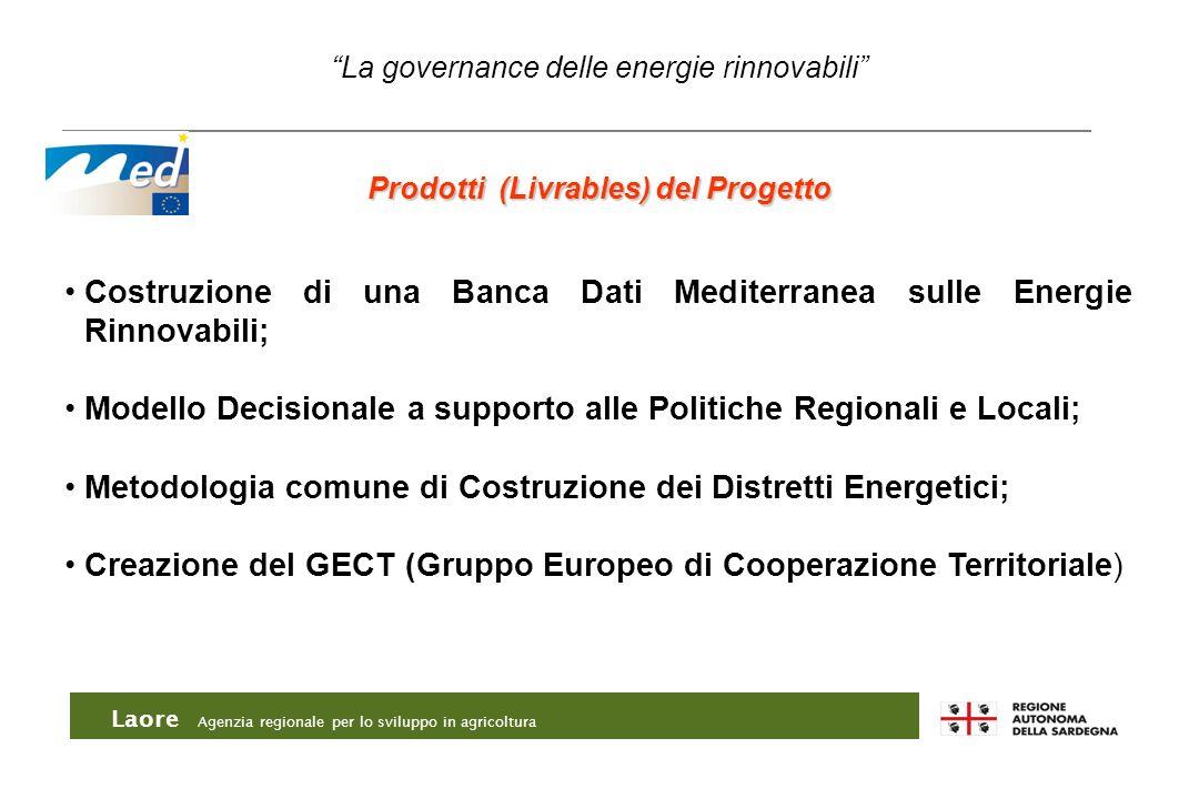 Laore Agenzia regionale per lo sviluppo in agricoltura Prodotti (Livrables) del Progetto Costruzione di una Banca Dati Mediterranea sulle Energie Rinn