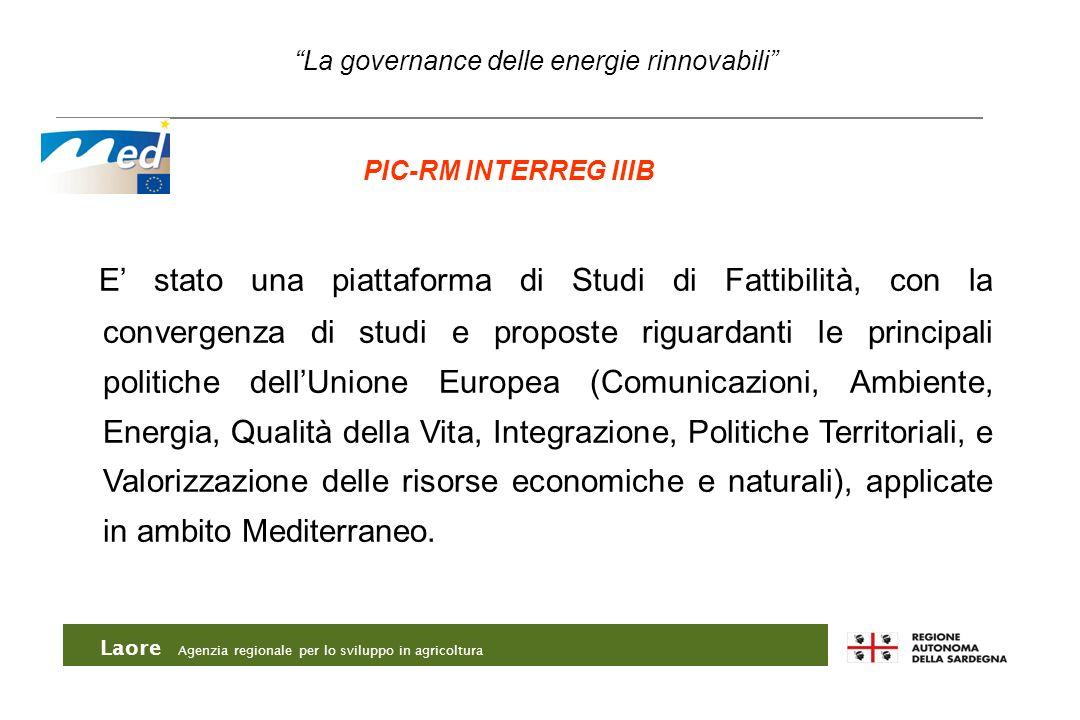 Laore Agenzia regionale per lo sviluppo in agricoltura La governance delle energie rinnovabili PIC-RM INTERREG IIIB E stato una piattaforma di Studi d