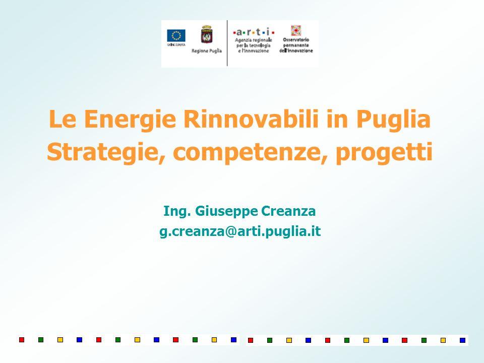 Le Energie Rinnovabili in Puglia Strategie, competenze, progetti Ing. Giuseppe Creanza g.creanza@arti.puglia.it