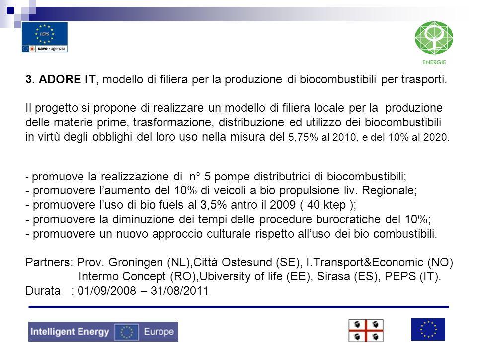 3. ADORE IT, modello di filiera per la produzione di biocombustibili per trasporti. Il progetto si propone di realizzare un modello di filiera locale