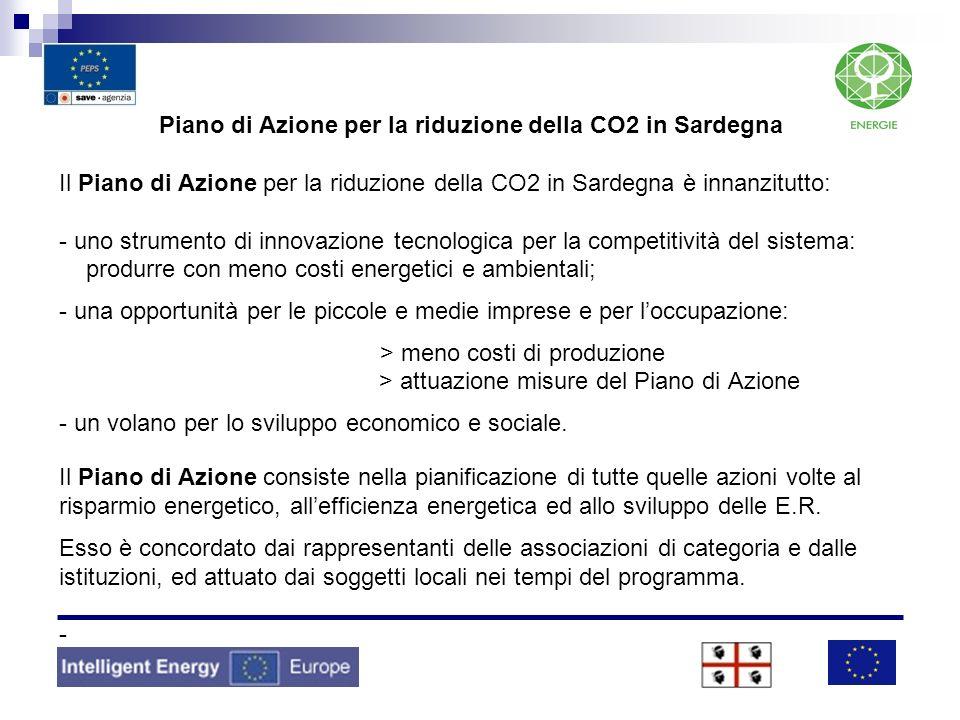 Piano di Azione per la riduzione della CO2 in Sardegna Il Piano di Azione per la riduzione della CO2 in Sardegna è innanzitutto: - uno strumento di in