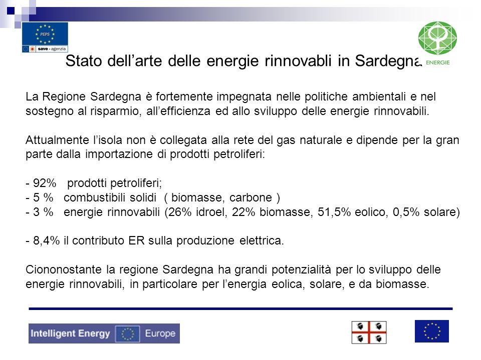 Stato dellarte delle energie rinnovabli in Sardegna La Regione Sardegna è fortemente impegnata nelle politiche ambientali e nel sostegno al risparmio,