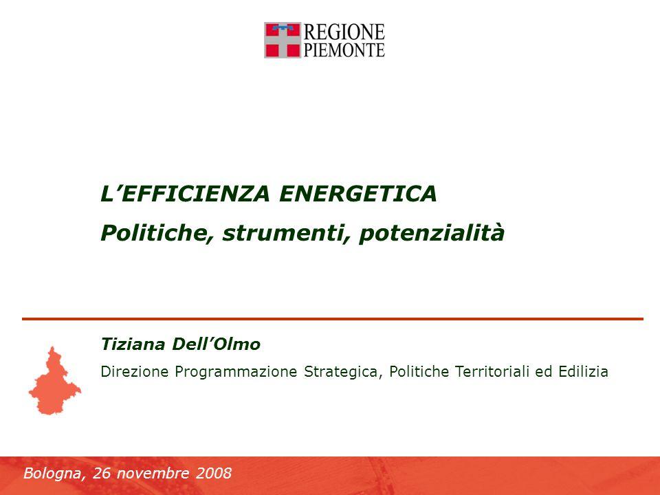 Bologna, 26 novembre 2008 Lefficienza energetica LEFFICIENZA ENERGETICA Politiche, strumenti, potenzialità Tiziana DellOlmo Direzione Programmazione Strategica, Politiche Territoriali ed Edilizia