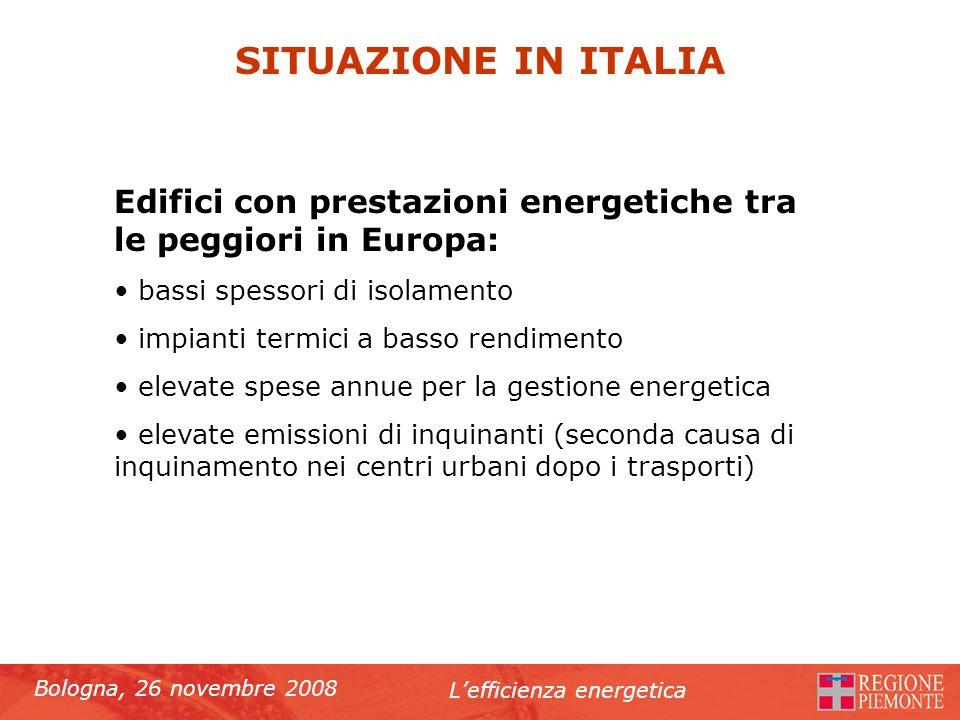 Bologna, 26 novembre 2008 Lefficienza energetica SITUAZIONE IN ITALIA Edifici con prestazioni energetiche tra le peggiori in Europa: bassi spessori di
