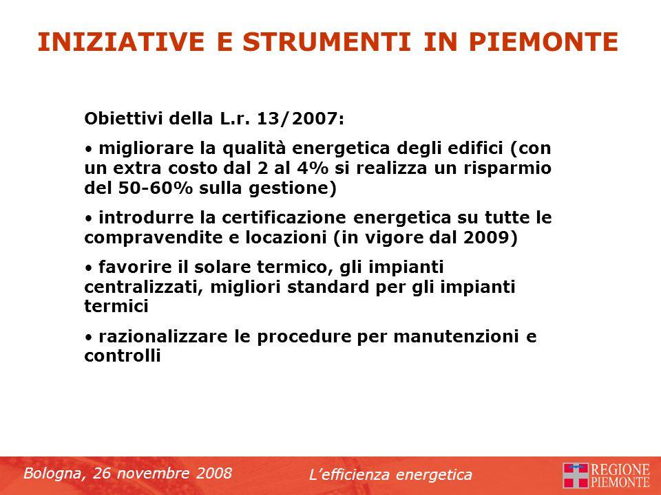 Bologna, 26 novembre 2008 Lefficienza energetica Obiettivi della L.r. 13/2007: migliorare la qualità energetica degli edifici (con un extra costo dal
