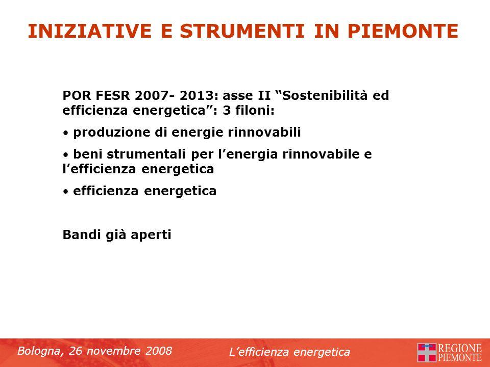 Bologna, 26 novembre 2008 Lefficienza energetica POR FESR 2007- 2013: asse II Sostenibilità ed efficienza energetica: 3 filoni: produzione di energie